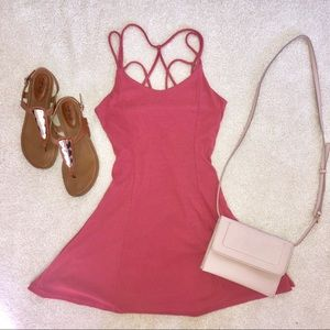 Pink Strappy Skater Dress